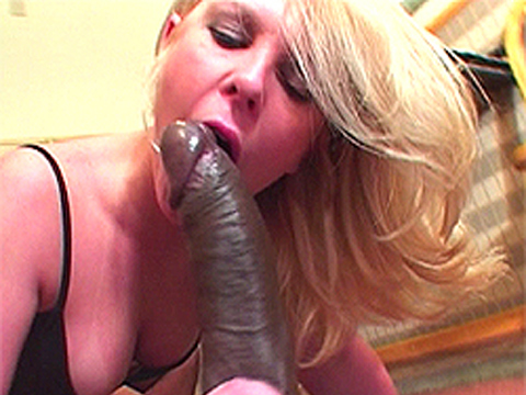 Slutty blonde sucks a whole big thick black cock